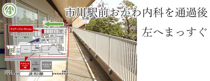 市川駅前おがわ内科を通過後 左へまっすぐ